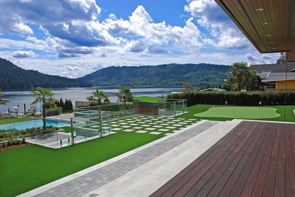 Artificial Grass, Precision Greens with putting green on a lake