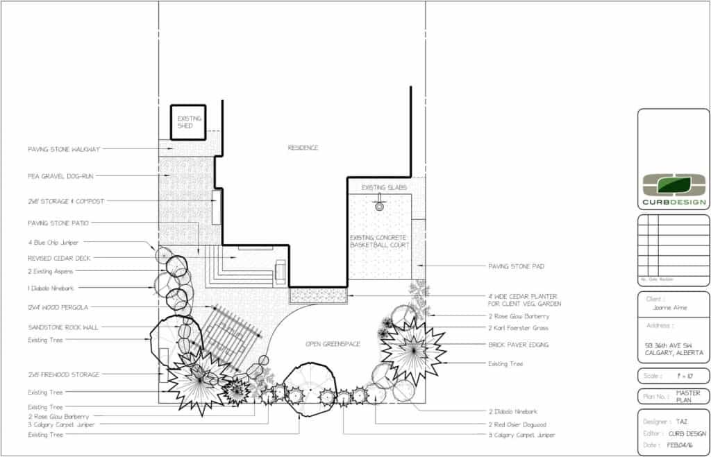 AutoCAD landscaping drawing or design. Showcasing landscape with custom deck and trees and shrubs