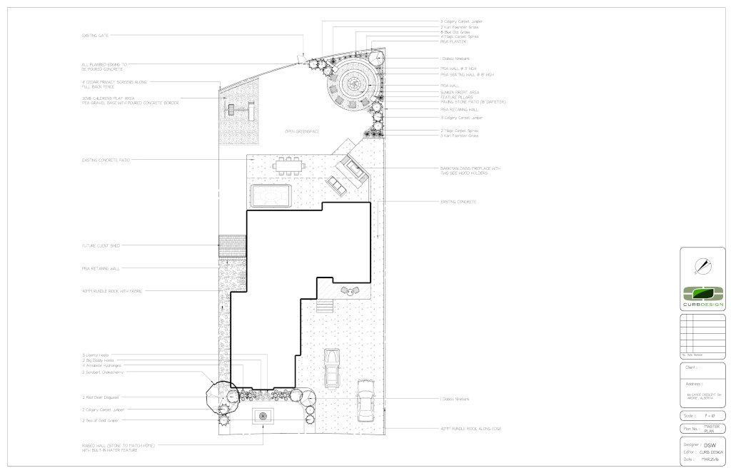 Custom landscape design drawing for a landscape. Drawing outlines entire landscape in great detail.