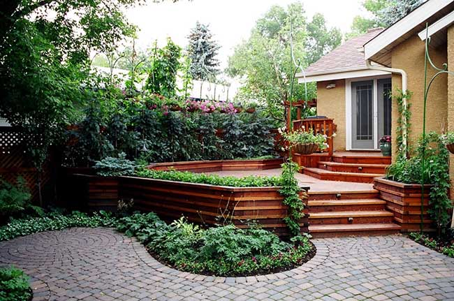 Stunning small Calgary backyard with a custom-built cedar deck